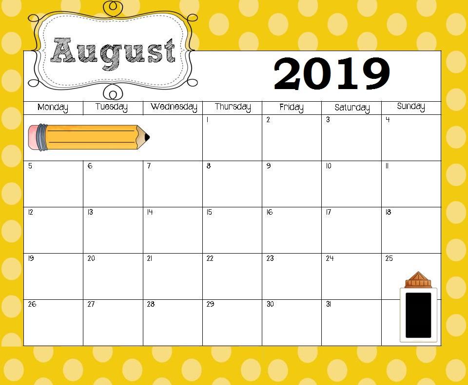 Best August 2019 Calendar Designs