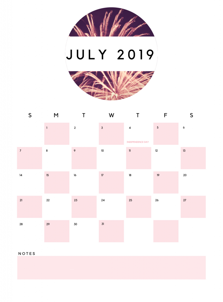 Best July 2019 Printable Calendar