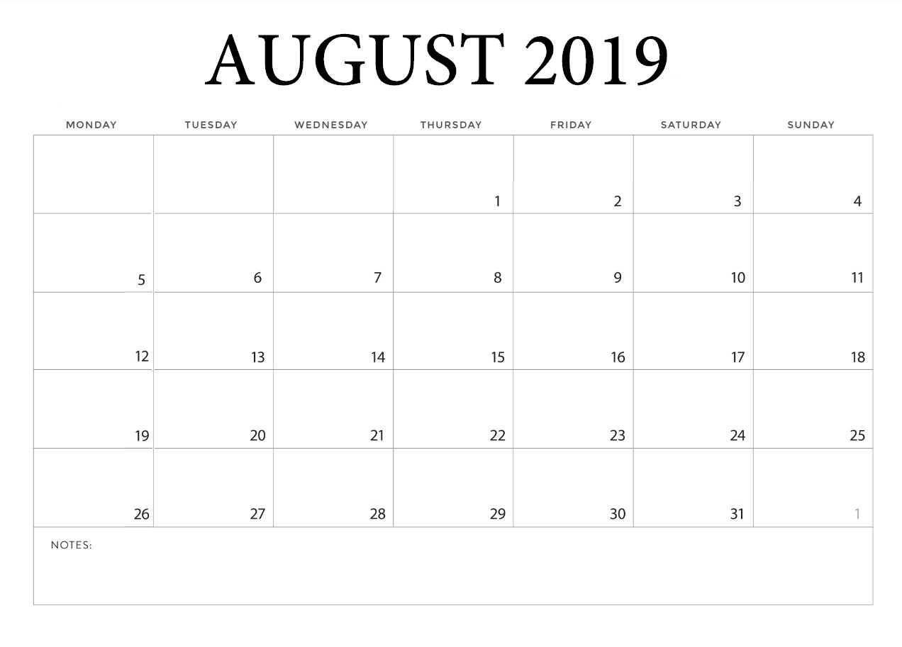 Blank August 2019 Template