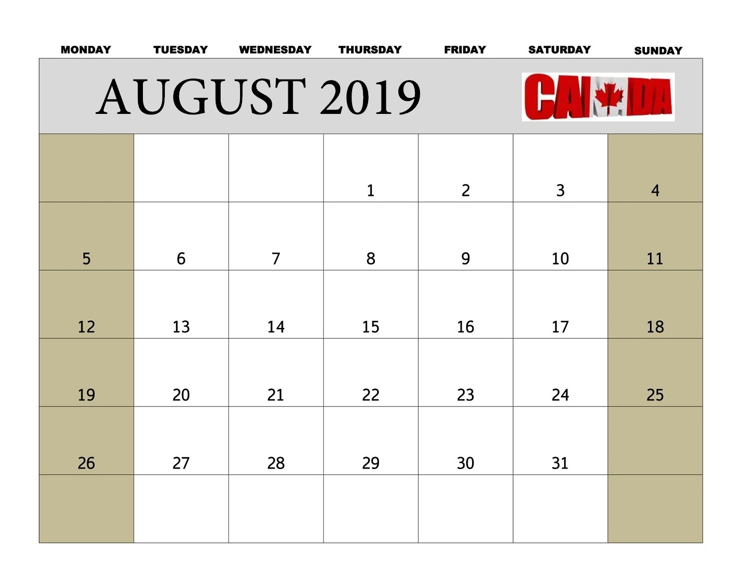 Canada August 2019 Bank Holidays Calendar