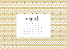 Canvas Design August 2019 Calendar