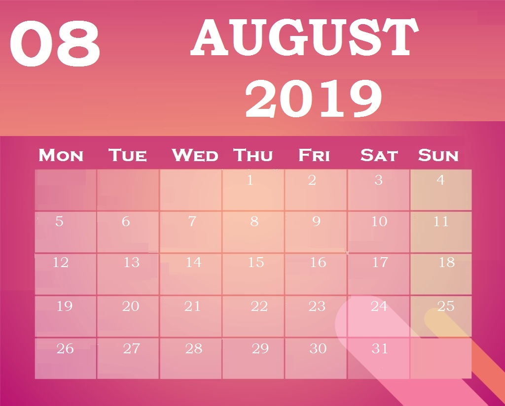 Download Best August 2019 Calendar Design