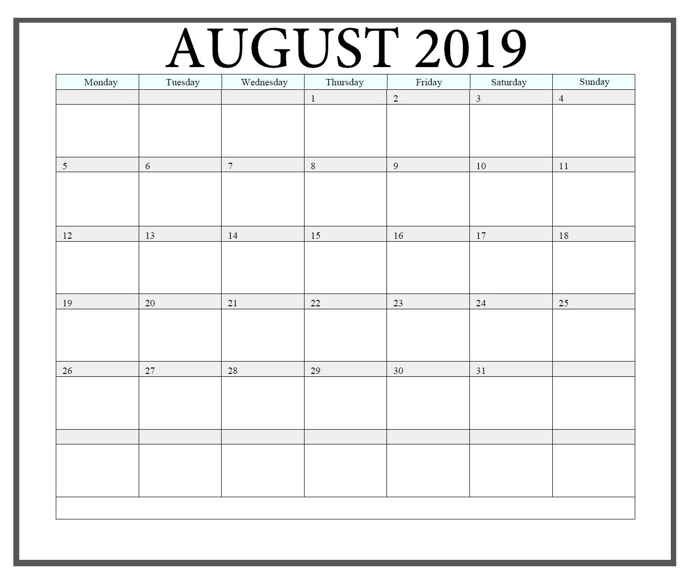Edit August 2019 Calendar Online