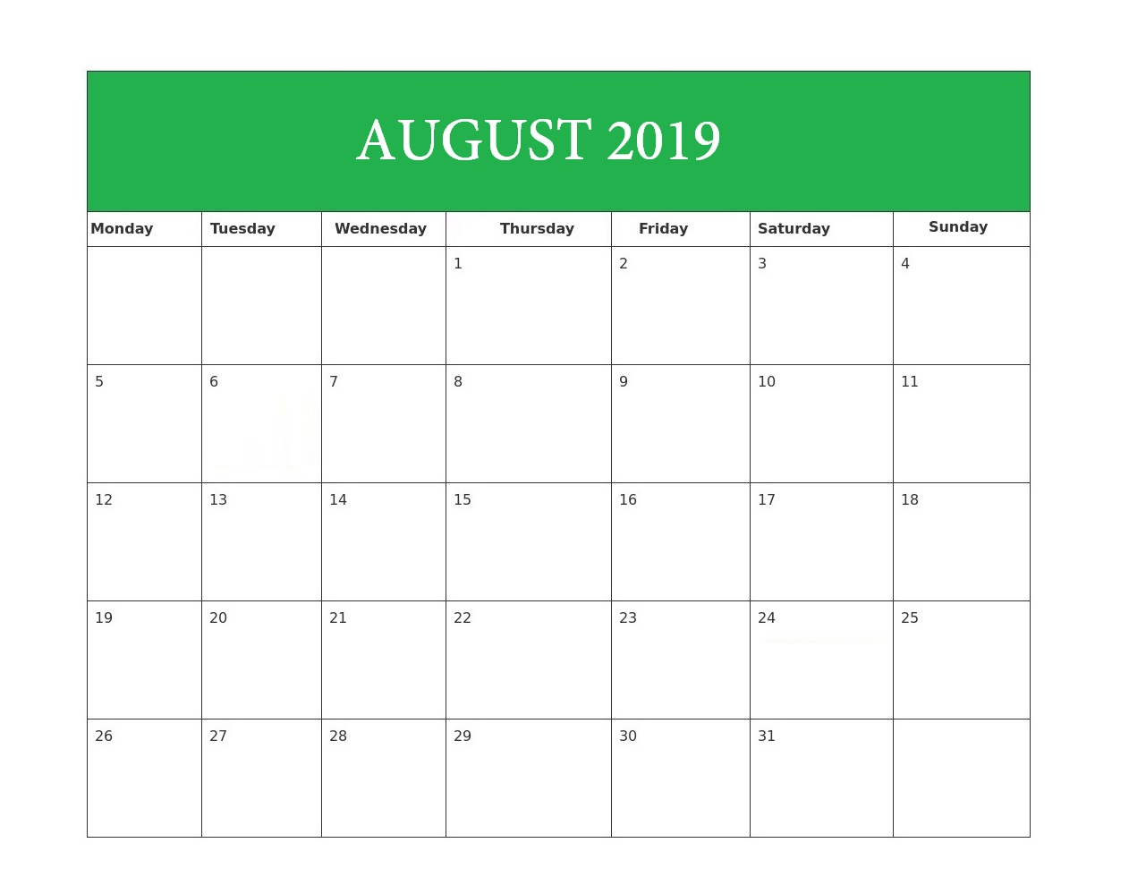 Editable August 2019 Blank Template