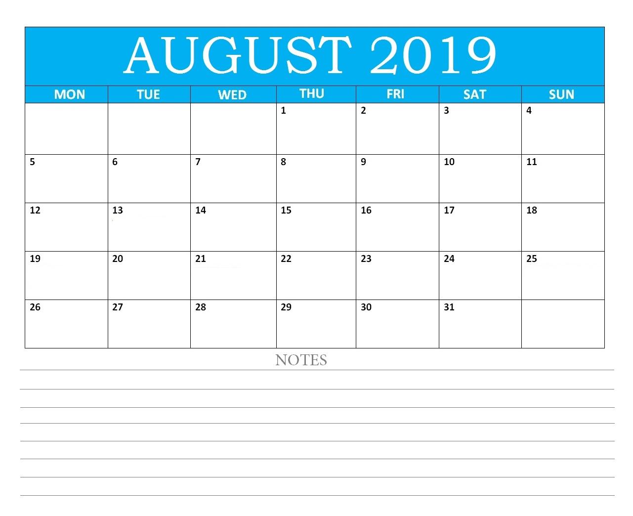 Editable August 2019 Calendar With Notes