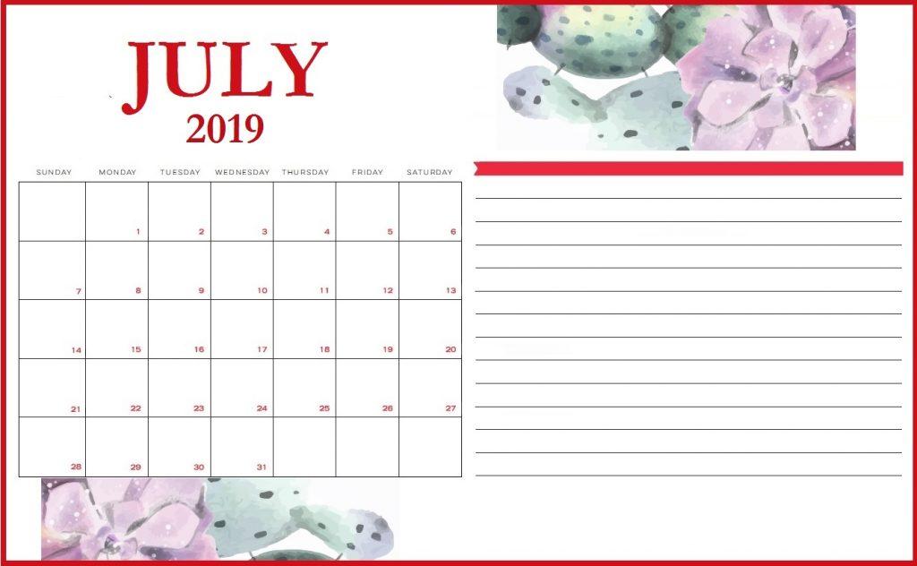 Floral July 2019 Printable Calendar