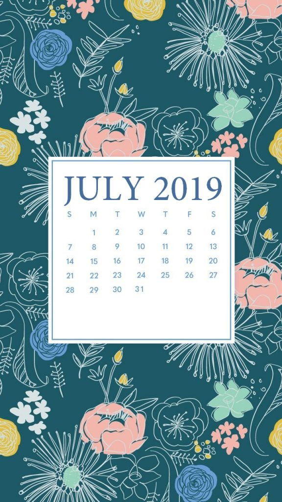 Floral July 2019 iPhone Calendar