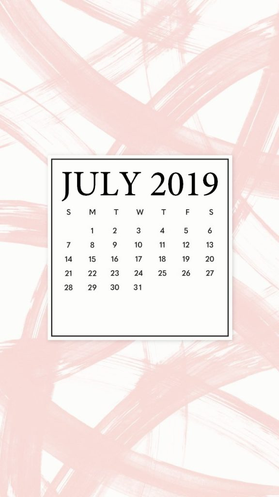 Free July 2019 iPhone Calendar