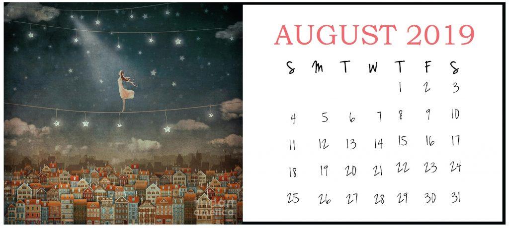 Illustration August 2019 Calendar Design