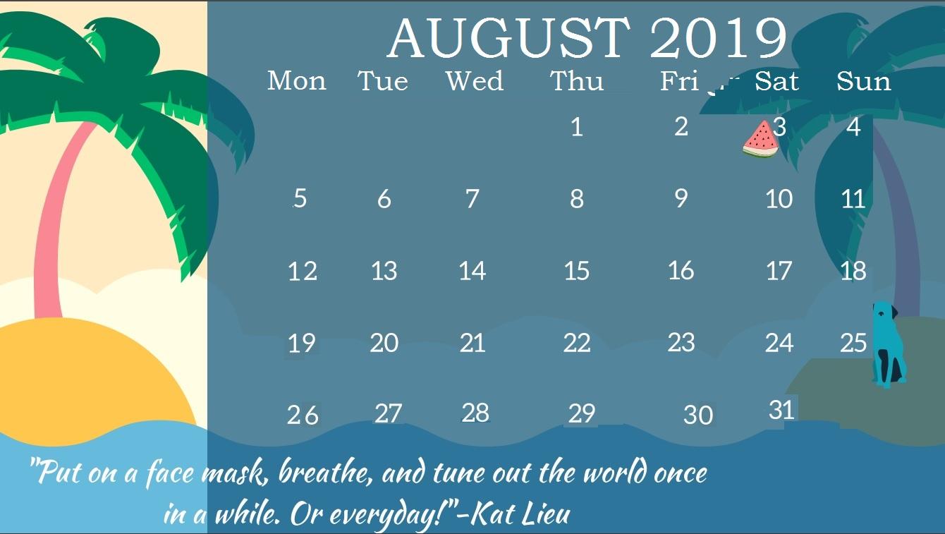 Inspiring August 2019 Calendar Wallpaper