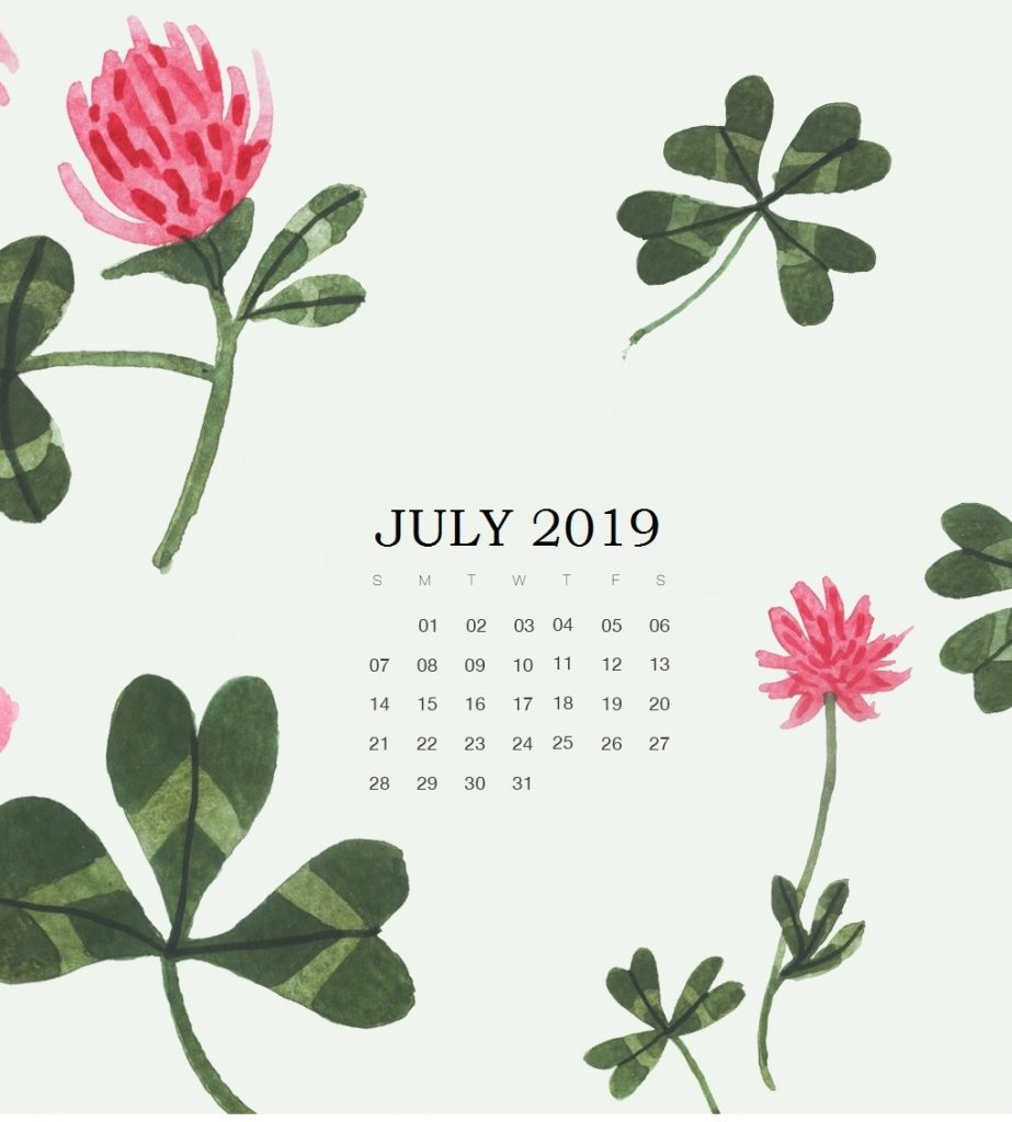 July 2019 Calendar For iPhone