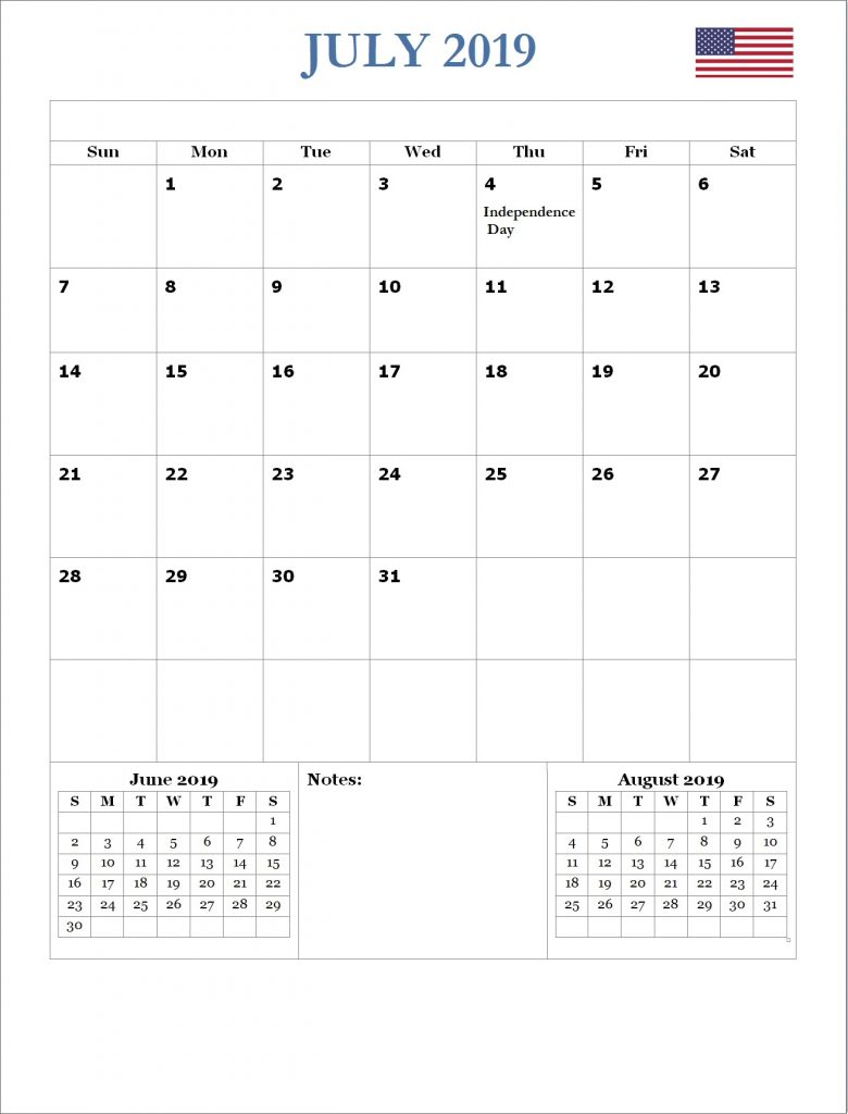 July 2019 Wall Calendar