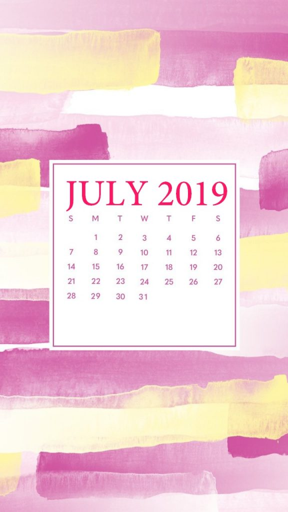 July 2019 iPhone Background Calendar