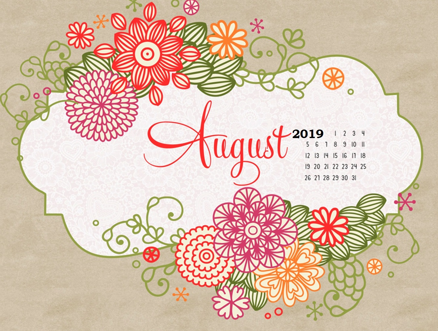 Latest August 2019 Calendar Design