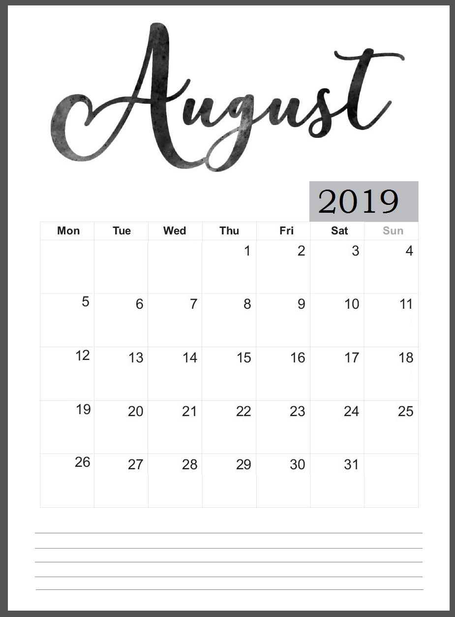 Printable August 2019 Wall Calendar