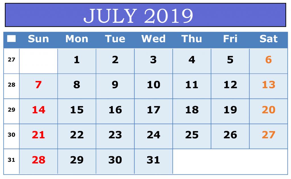 Printable July 2019 Calendar Template