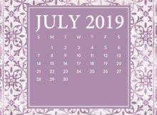 iPhone July 2019 Screensaver Calendar