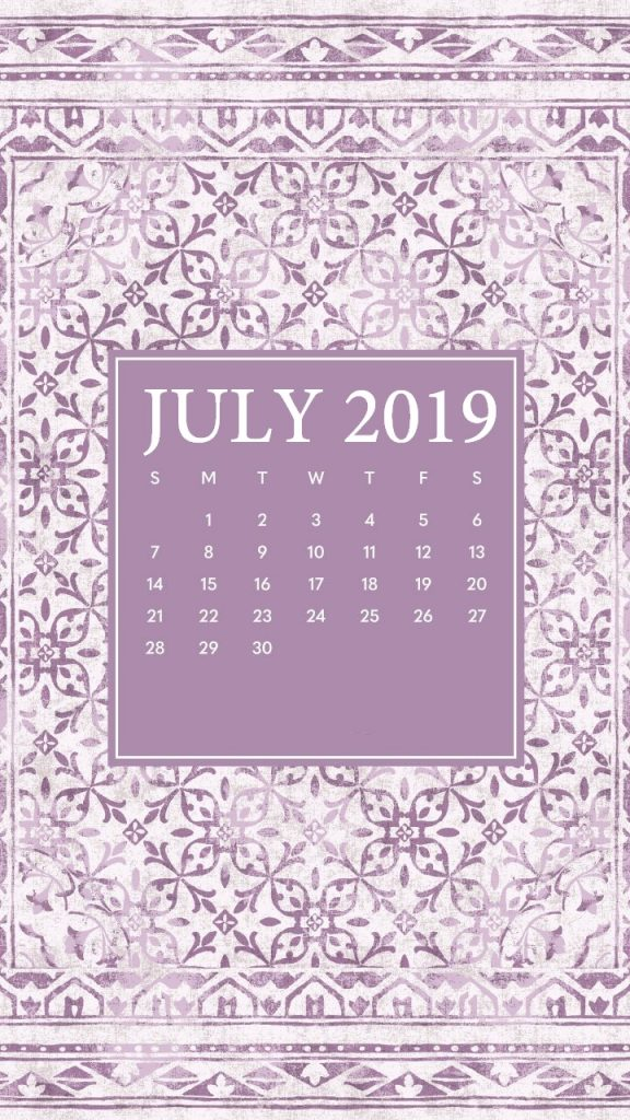 iPhone July 2019 Screensaver Calendar