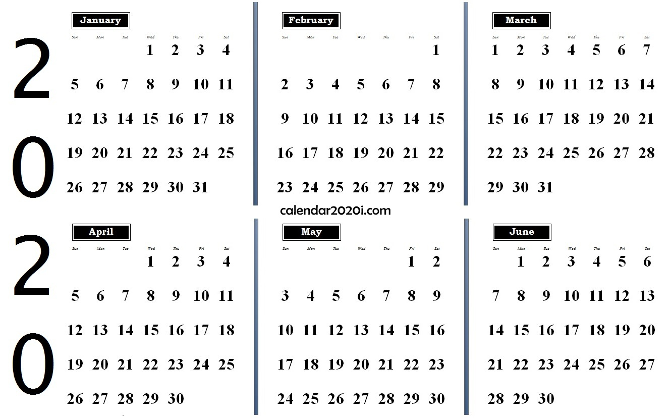 2020 6 Months Calendar from January to June