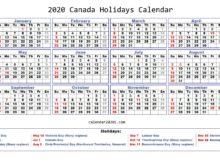 2020 Canada Holidays Calendar