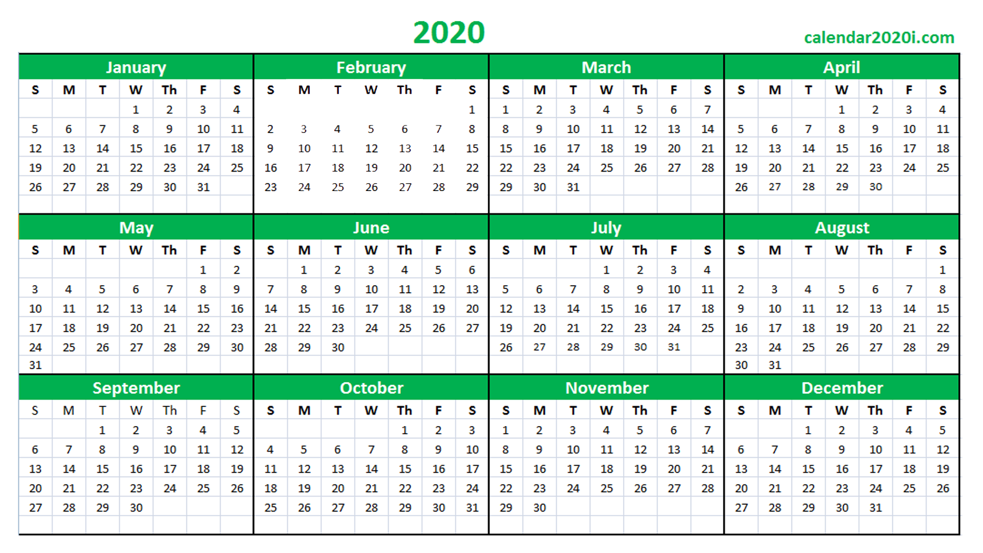 2020 Excel Printable Calendar
