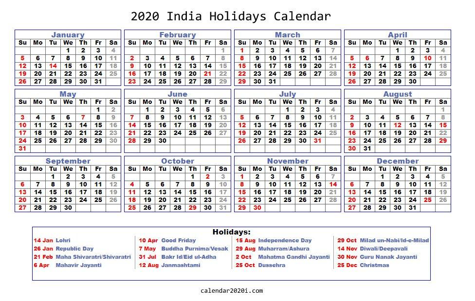 2020 India Holidays Calendar