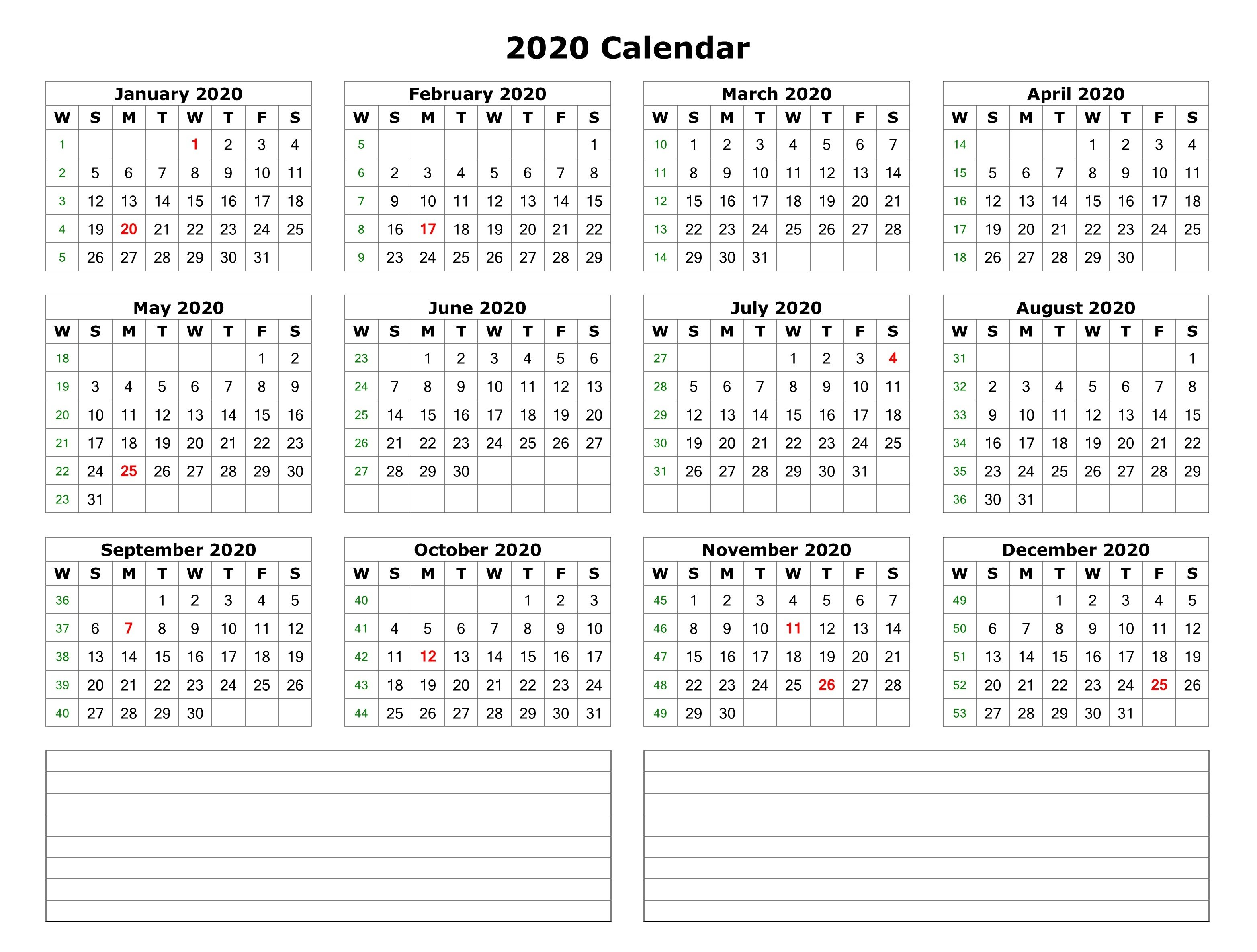 2020 One Page Calendar With Notes