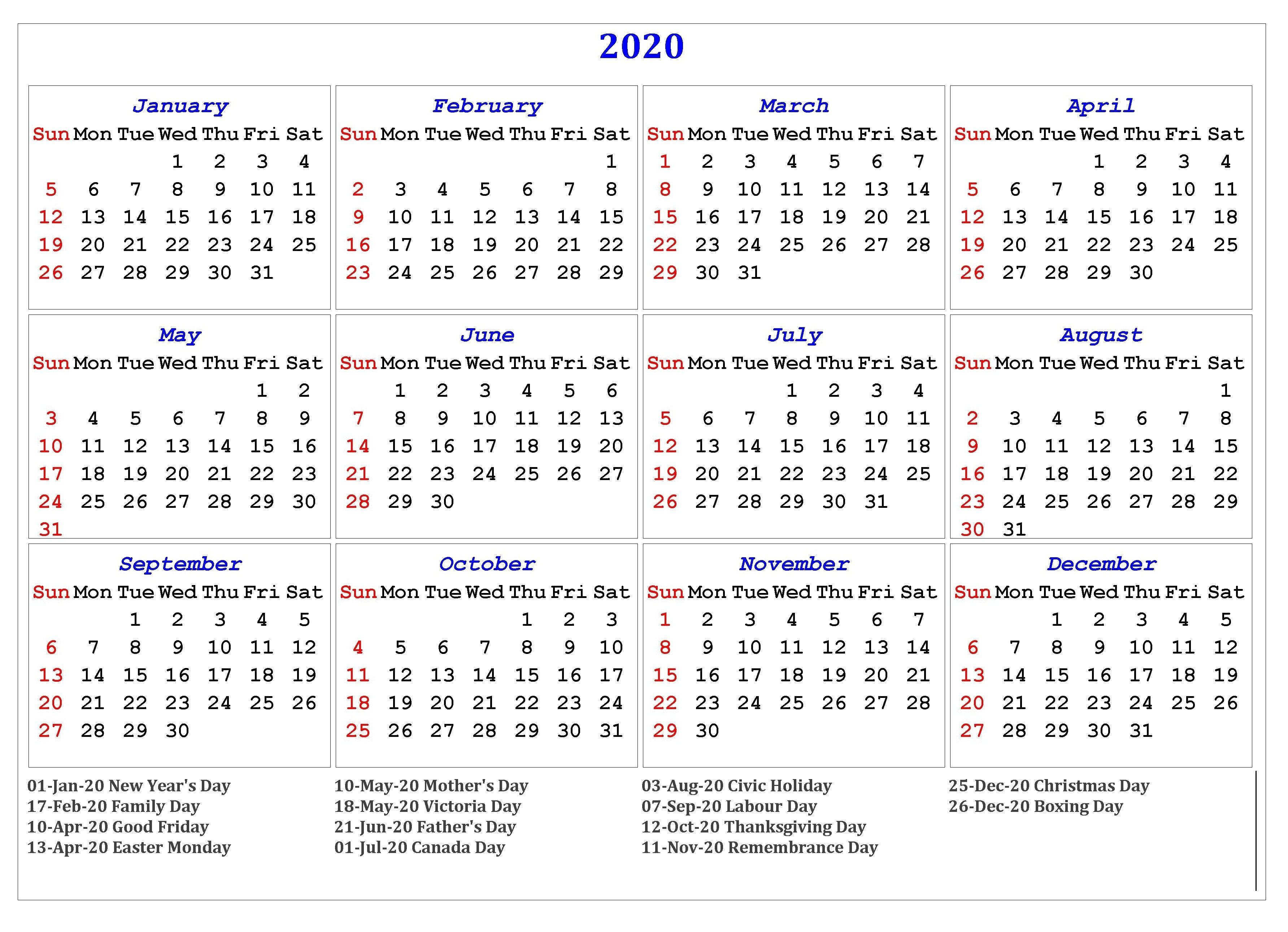 2020 One Page Holidays Calendar