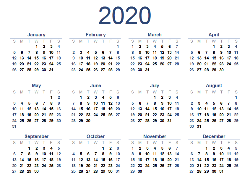 2020 One Page Yearly Calendar