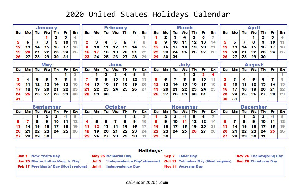 2020 United States Holidays Calendar