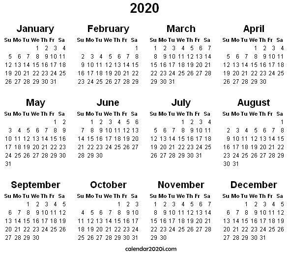 2020 Wall Calendar Printable