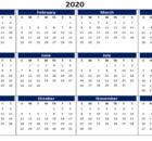 2020 Word Printable Calendar
