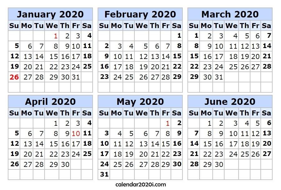6 Month 2020 1st Half Calendar