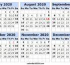 6 Month 2020 2nd Half Calendar