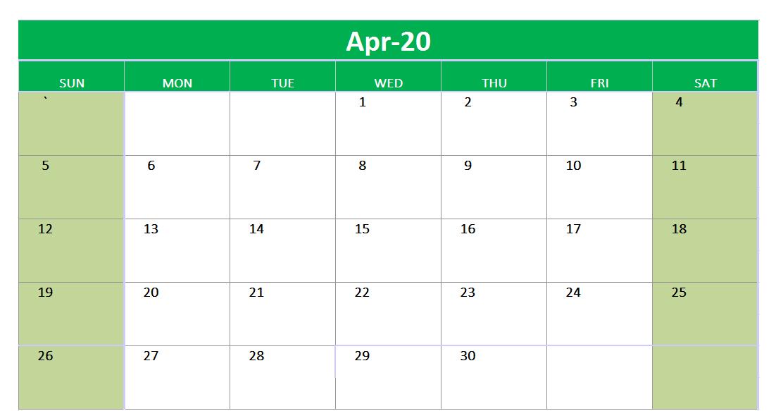 April 2020 Excel Printable Calendar