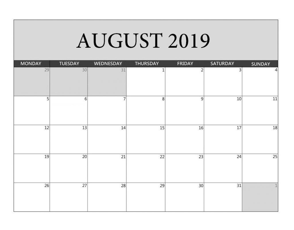 August 2019 Blank Planner Template