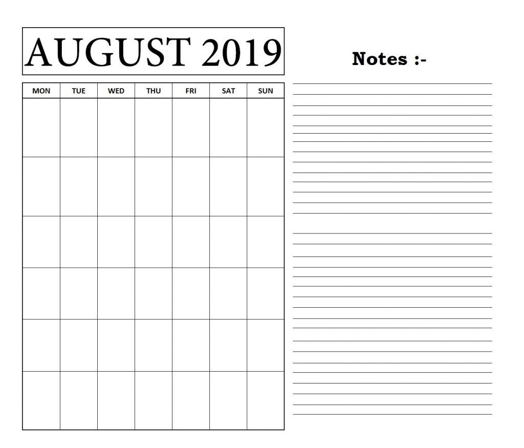 August 2019 Blank Template with Notes