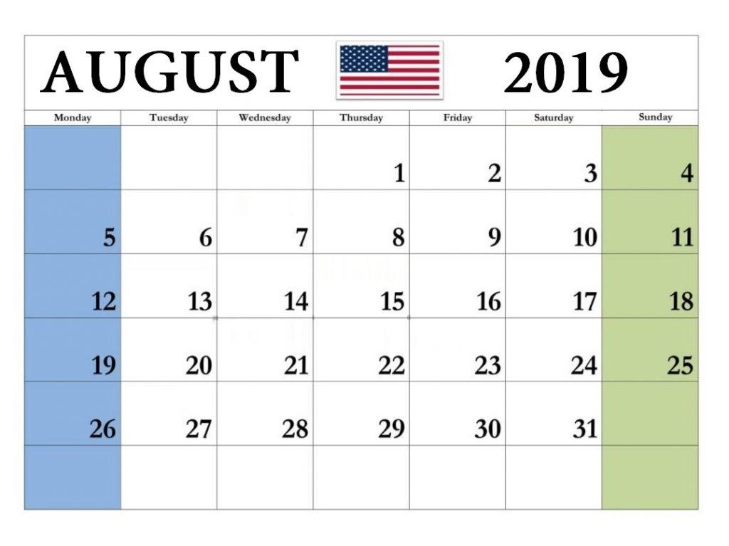 August 2019 Calendar USA