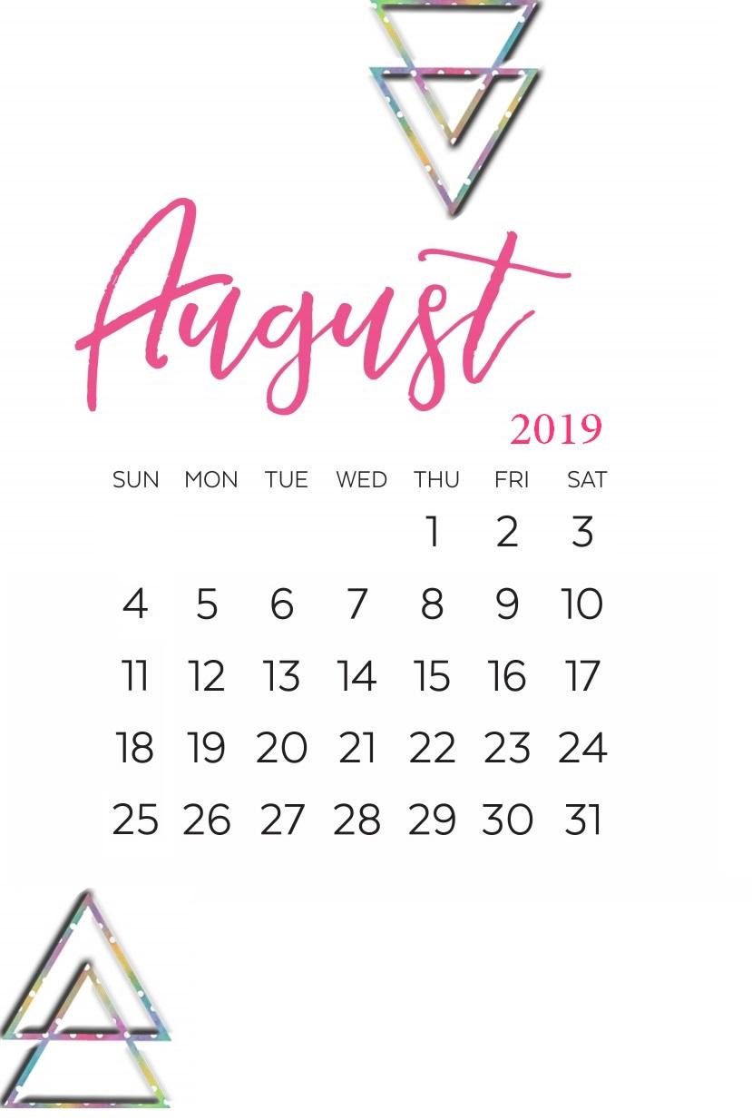 August 2019 Calligraphy Calendar Printable