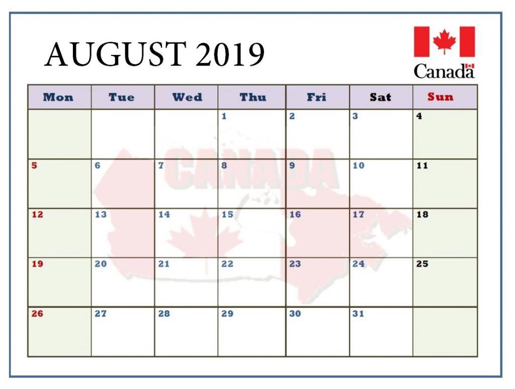 August 2019 Canada Holidays Calendar