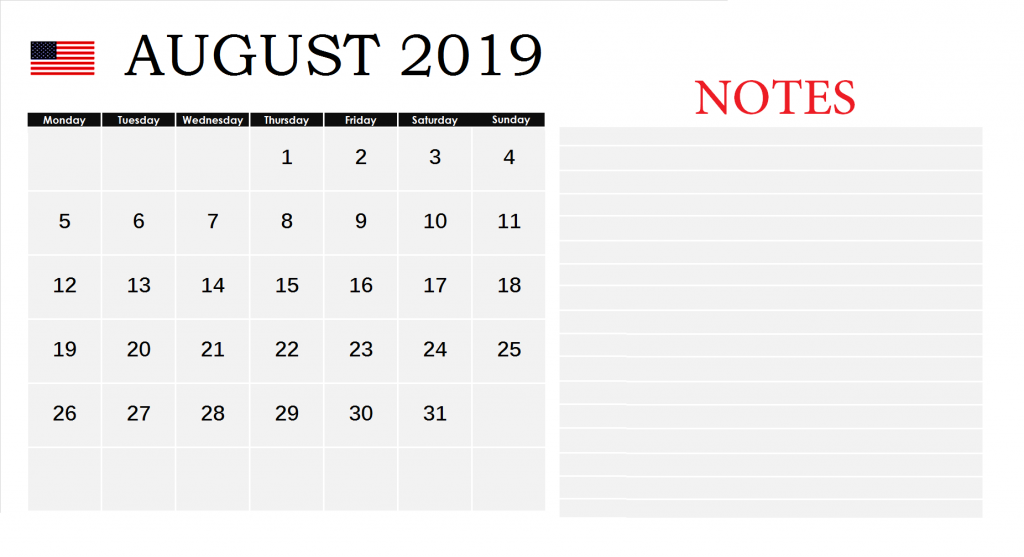 August 2019 Federal Holidays United States