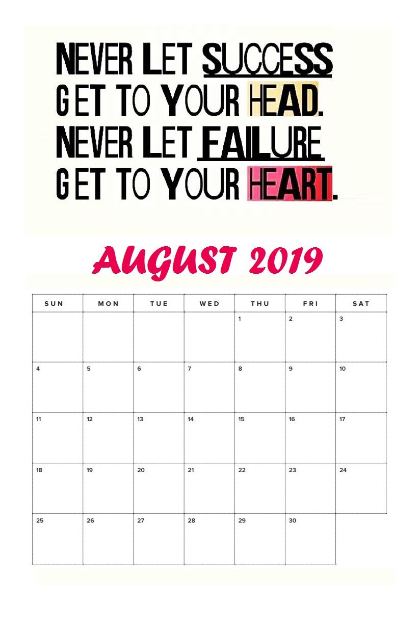 August 2019 Inspiring Calendar To Print