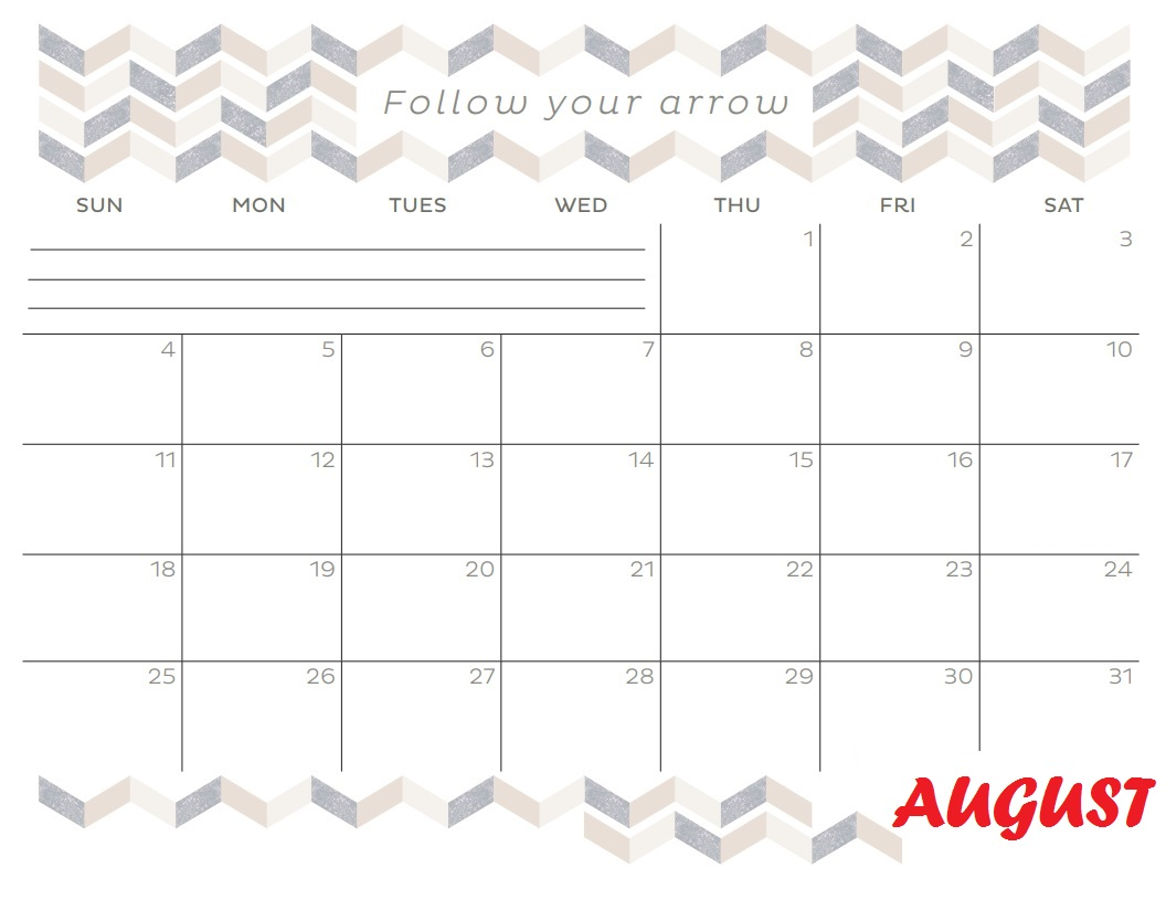 August 2019 Inspiring Quotes Template