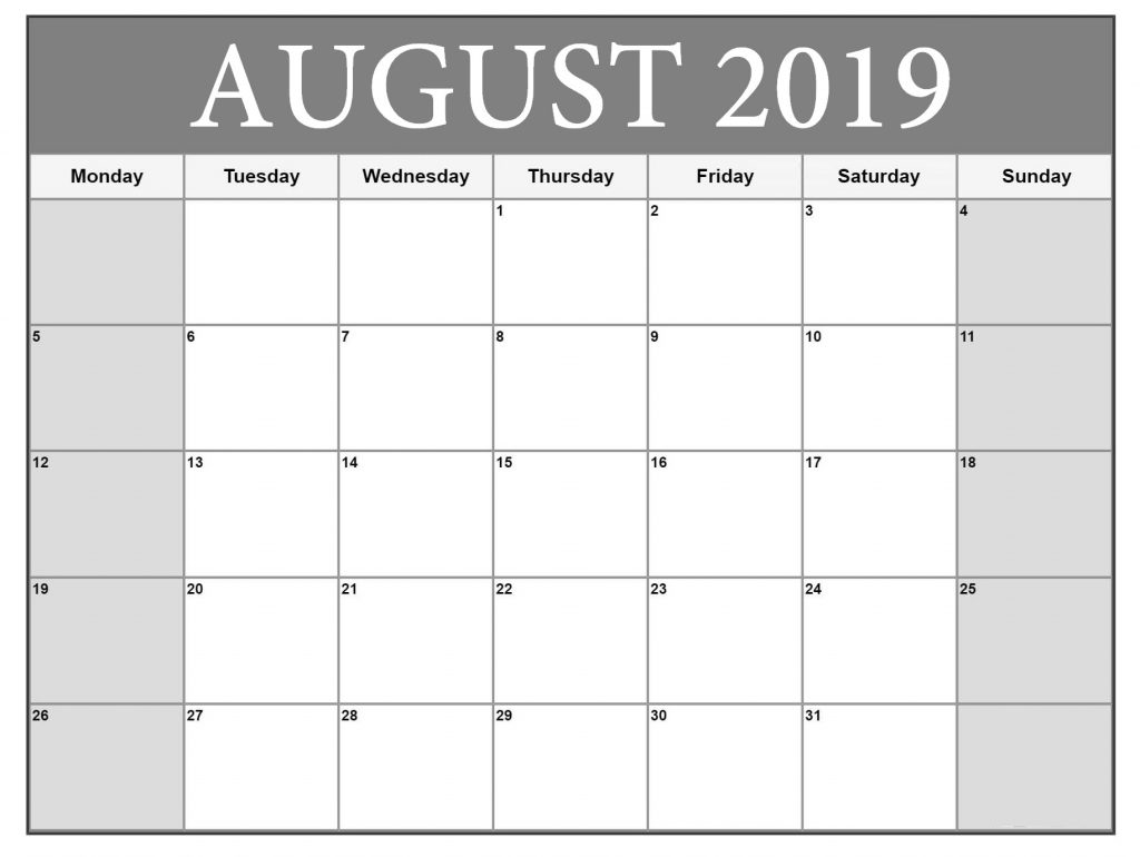 August 2019 Monthly Blank Planner