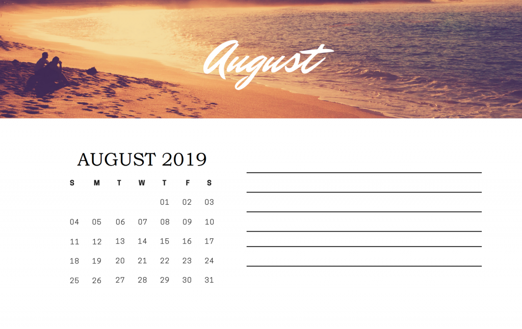 August 2019 Office Desk Calendar