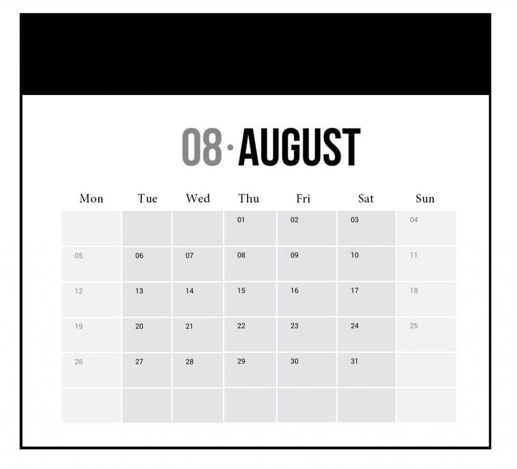 August 2019 Vertical Wall Calendar