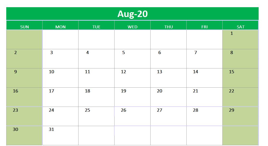 August 2020 Excel Printable Calendar