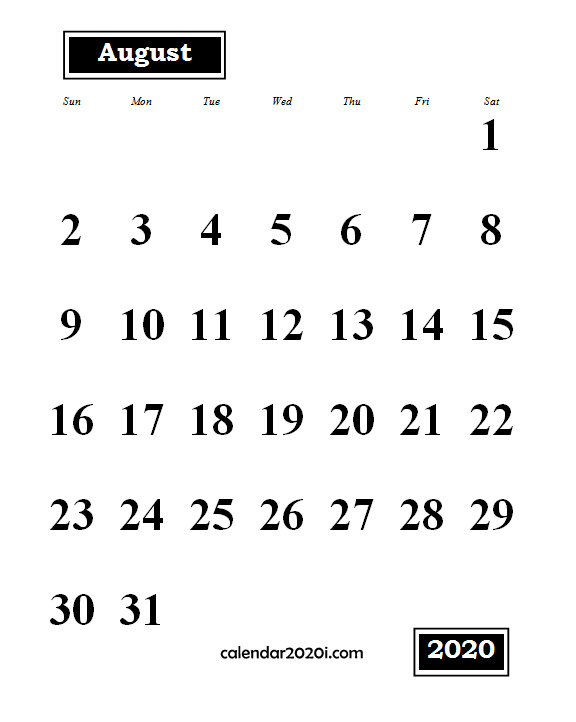 August 2020 Monthly Portrait Calendar