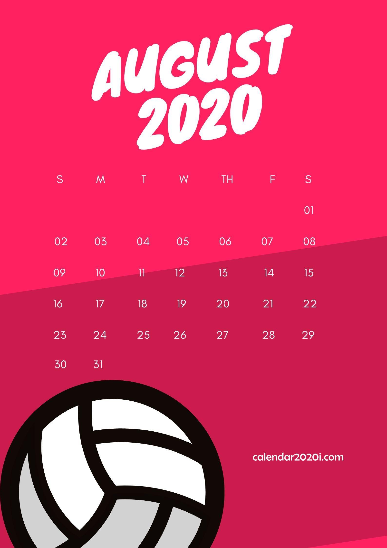 August 2020 Wall Calendar Printable
