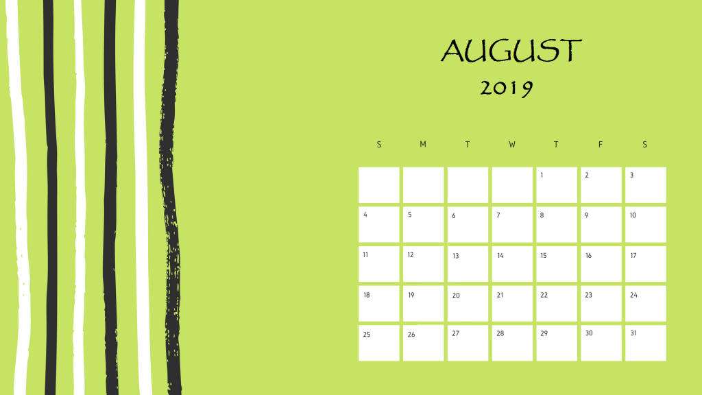 Beautiful August 2019 Printable Calendar